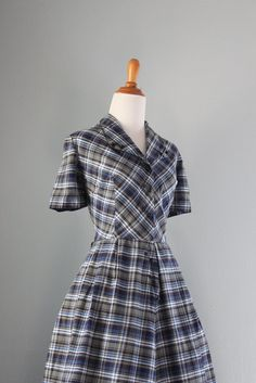 1950s Dress / Vintage 50s Blue Plaid Day Dress / by HolliePoint, $64.00