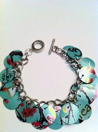 Bracelet from soda cans. Could use those circles for sooooooooo many different crafts!