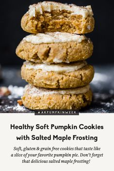 healthy soft pumpkin cookies with an addicting salted maple frosting are absolutely delicious! These melt-in-your-mouth cookies are both gluten free and grain free and taste like a slice of your favorite pumpkin pie! Gluten Free Pumpkin Cookies, Cookies Sans Gluten, Soft Pumpkin Cookies, Healthy Cookies, Healthy Desserts, Healthy Pumpkin Bars, Paleo Pumpkin Pie, Pumpkin Pies, Delicious Cookies