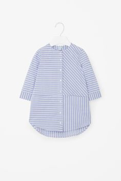 This shirt dress is made from lightweight cotton with an all-over stripe pattern. Designed with a rounded hemline that is slightly longer at the back, it has a neat grandad collar, long sleeves and subtle front slit pockets. Kids Fashion, Fashion Outfits, Womens Fashion, Baby Boy Outfits, Kids Outfits, Pakistani Fashion Casual, Striped Shirt Dress, Simple Shirts, Little Girl Dresses