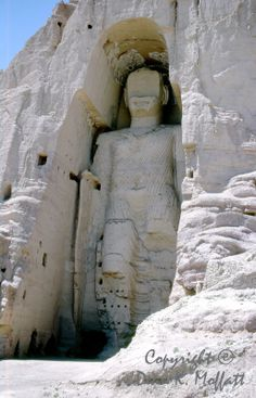 Bamiyan Buddha, Hindu Kush mountain region, Afghanistan. This photo was taken in the 1960's, this monument is now destroyed. #photography