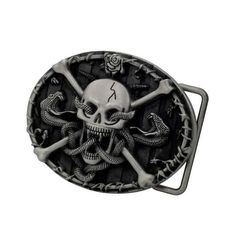 Skull and Crossbones With Snakes Scary Belt Buckle Gothic Cool
