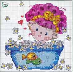 Cute girl in bathtub cross stitch