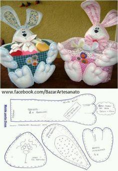 Bunny basket w/ free pattern Bunny Crafts, Felt Crafts, Easter Crafts, Felt Christmas, Christmas Crafts, Felt Bunny, Easter Projects, Felt Patterns, Stuffed Animal Patterns