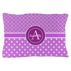 Purple Polka Dot Quatrefoil Monogram Personalized on CafePress.com