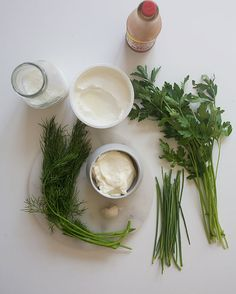 Get this buttermilk ranch dressing recipe from PBS Food. Good salad dressing doesn't need all the ingredients listed on grocery store bottle. Best Salad Dressing, Salad Dressing Recipes, Salad Recipes, Buttermilk Ranch Dressing, Ranch Dressing Recipe, Take A Meal, Pbs Food, Garlic Clove, Food Salad