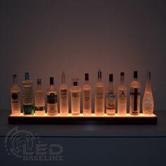 1 Tier LED Display Shelf adds an interesting and beautiful illumination to your bar, nightclub, home bar or office. Add an optional logo. Led Shelf Lighting, Bar Lighting, Linear Lighting, Bar Shelves, Display Shelves, Ikea Bar, Mini Liquor Bottles, Bottle Display, Bottle Rack