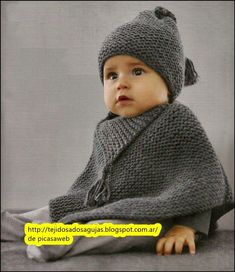 Poncho knitted baby two needles