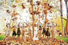 Fall wedding  Throwing leaves or jumping in a pile of leaves...maybe right after the ceremony.