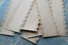 "For Corrie in the UK 12 Wide Vintage Writing Paper Lace Strips double cut edge 2"" wide"