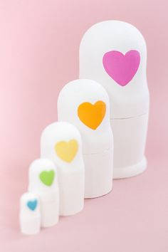 DIY Decorative Painted Heart Faced Nesting Dolls