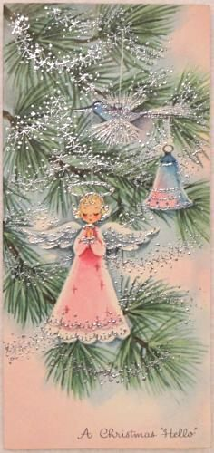 Silver Glittered Angel Ornaments on the Tree - Vintage Christmas Greeting Card: Vintage Christmas Images, Old Christmas, Christmas Scenes, Retro Christmas, Vintage Holiday, Christmas Pictures, Christmas Angels, Vintage Greeting Cards, Christmas Greeting Cards