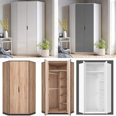 White high gloss top quality corner wardrobe with full size hanging rails and internal sehlves. Fast free delivery and best price guaranteed. Corner Wardrobe Closet, Small Bedroom Wardrobe, Wardrobe Sale, Diy Wardrobe, Bedroom Closet Design, Wardrobe Design, Home Room Design, Closet Designs, Large Bedroom