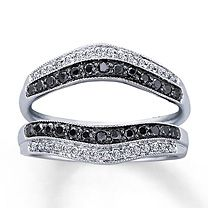 Mens 1 2 CT TW Enhanced Black And White Diamond Ring In Sterling Silver
