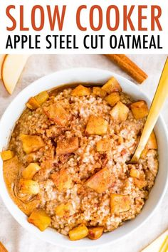 Apple cinnamon oatmeal made with steel cut oats and filled with soft apple chunks. You can make this apple cinnamon oatmeal in your slow cooker or an instant pot! #instantpot #slowcooker #crockpot #steelcutoats #oatmeal #apple #cinnamon #mealprep #breakfast Healthy Low Carb Recipes, Healthy Meal Prep, Clean Eating Recipes, Real Food Recipes, Healthy Eating, Paleo Recipes, Bread Recipes, Healthy Food, Yummy Food