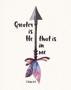 Greater is He that is in me- 1 John We can do great things because He lives in us. He goes before us and fights our battles. What we think we can't do, we can! This is because He dwells in our hearts by faith. He is stronger then any evil of this world. Bible Verses Quotes, Bible Scriptures, Faith Bible, Best Bible Quotes, Faith Quotes, Greater Is He, Bibel Journal, 1 John, God Is Good