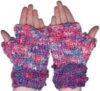 Chunky yarn hand knit fingerless mitts