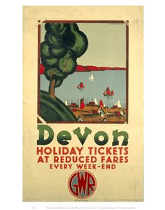 Devon - Holiday Tickets at Reduced Fares by National Railway Museum. Massive range of art prints, posters & canvases. Posters Uk, Train Posters, Beach Posters, Railway Posters, Cool Posters, Poster Prints, Art Prints, Vintage Maps, Vintage Travel Posters