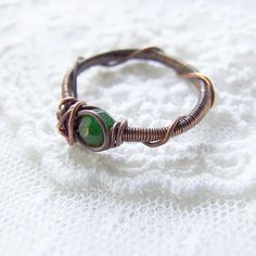 green stacking ring - wire wrapped, bohemian, rustic copper green jade ring on Etsy, $20.00