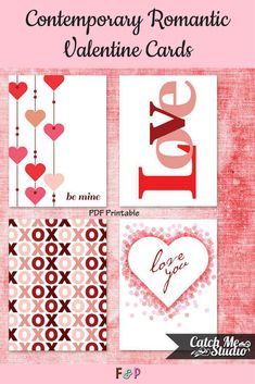 I love these contemporary romantic valentines! Simple but so cute! #valentines #ad #printable  #valentinesday #love #pdfprintable #crafty #diy