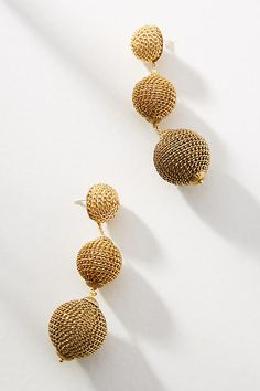 Chain Wrapped Gold Ball Drop Earrings