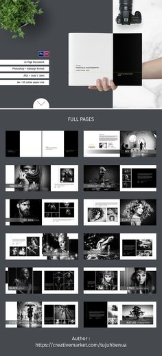 Portfolio / Photobook Fonts Graphics Photoshop Templates I Portfolio Design Layouts, Ideas De Portfolio, Photography Portfolio Layout, Book Portfolio, Portfolio Photo, Portfolio Booklet, Book Design Layout, Album Design, Book Photography