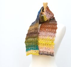 Knitted Scarf Noro Scarf Lace Scarf Multicolor Scarves by Easy123, $68.00