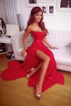 sexy red strapless sweetheart long chiffon prom dress with slit