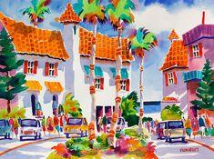 Venice Beach Florida Tropical Watercolor Print 5 x 7 8 x