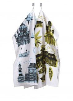 Helsinki-Helsingfors tea towel | marimekko