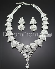 Concise Triangular Shaped Alloy with Rhinestone Wedding Jewelry Set(Including Necklace and Earrings)