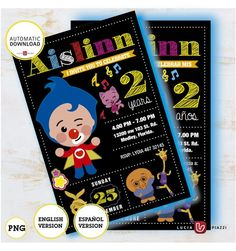 Plim plim clown, invitation with personalized data, printable invitation, Card size 4 x 6 inches, High quality image PNG 300 dpi Birthday Dates, Circus Birthday, 1st Birthday Parties, 3rd Birthday, Printable Invitations, Ideas Para Fiestas, Card Sizes, High Quality Images, Bebe