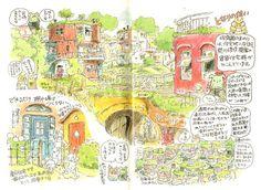 宮崎駿が友人の美術家・荒川修作とともに思い描いた理想の町、「イーハトーブ町」::保育園のまわりの住宅地:: 保育園のまわりは、荒川修作提案の天命反転住宅群がかこんでいる。 荒川「直線や水平ばかり追求したあげく、人間まで四角にしてしまったのが日本の町だ。この町では、住民は自分のかくされた感覚や能力をハッケンするのだ。」 ★集合住宅でも最小スペースは私用部分として結界はつくり、物置などもはじめからチャンとつくる (「虫眼とアニ眼」養老猛司、宮崎駿)