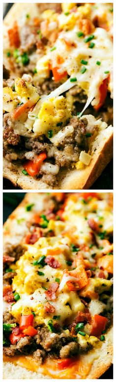 Sausage Stuffed French Bread Boats ~ Such a delicious and easy breakfast... Stuffed with sausage, cheese, eggs, bell peppers and onions this is sure to be a breakfast the entire family will love!!