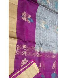 Grey Handloom Kanjeevaram Silk Saree
