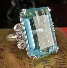 Art Deco Emerald Cut Aquamarine & Diamond Ring