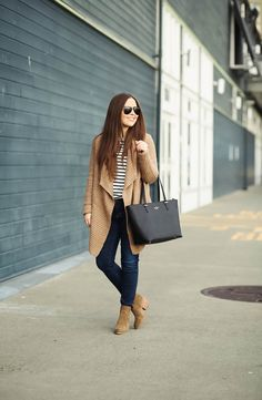 striped tee, camel cardigan, jeans, taupe suede booties