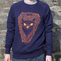 Frankie the Fox Mens Denim Blue Screen Printed Sweatshirt #mensstyle #fashion #fox #illustration #giftsforhim #winter #screenprint