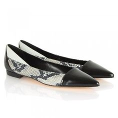 Boss by Hugo Boss Black Reptile Gaja Flat Pointed Court Shoe