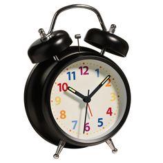 Alarm Clock, Twin Bell with Light, Matt Black Metal