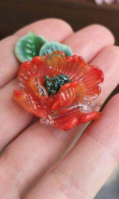 Handmade Lampwork Red Poppy by JewelryBeadsByKatie. Lampwork Glass flowers Beads for jewelry making. Made to order 1 pcs mm. Glass Jewelry making supplies and findings for earrings, bracelets, necklaces, brooches and hair jewelry Jewelry Making Tutorials, Jewelry Making Beads, Jewelry Making Supplies, Glass Jewelry, Glass Beads, Unique Jewelry, Glass Flowers, Beaded Flowers, Polymer Clay Beads