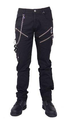 Devil Fashion Vintage Dark Punk Male Straight Combat Cargo Trousers in Cotton, Casual Black Zipper Chain Gothic Pants for Men . Mens Gothic Pants, Goth Pants, Steampunk Men, Steampunk Pants, Steampunk Clothing, Comfortable Jeans, Look Plus, Short, Black Pants
