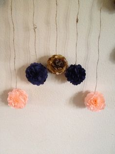Mini DIY Navy Peach and Gold Tissue Paper Flower by giddy4paisley