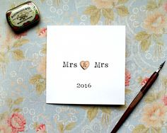 Mrs and Mrs Card, Mrs Wedding Card, Mrs 2016 , Wedding Card 2016, Cute Wedding Card, Bride, Wedding stationary, Wooden heart wedding card by BEEautifulcreatures on Etsy