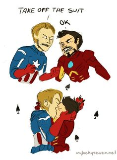 "sweetkonekopie: "" Sexual Tension Please ~ ≖‿≖ ╭ x "" Stony Avengers, Avengers Art, Avengers Memes, Marvel Memes, Marvel X, Disney Marvel, Marvel Funny, Tony Stark, Deadpool X Spiderman"