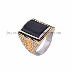 anillo moda piedra negra brillante en acero plateado inoxidable -SSRGG371804