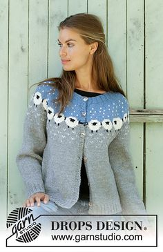 Cardigan / DROPS - Free knitting patterns by DROPS Design Sheep Happens! Cardigan / DROPS - Knitted jacket with round yoke in DROPS Lima. Piece is knitted top down in Norwegian pattern with sheep. Size: S - XXXL Cardigan Pattern, Jacket Pattern, Top Pattern, Knit Cardigan, Knitting Patterns Free, Knit Patterns, Free Knitting, Baby Knitting, Tejido Fair Isle