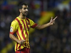 Montoya of Barcelona reacts during the la Liga match between Levante UD and FC Barcelona at Ciutat de Valencia on January 19, 2014 in Valencia, Spain.