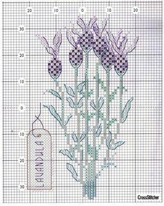 cross stitch lavender / Lavendula Stoechas / tupsupäälaventeli eli ranskanlaventeli