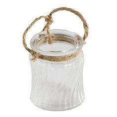 Glazen sfeerlicht met touwgreep, met gedraaide verticale ribbels in het glas. €1.99